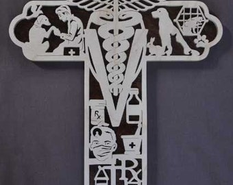 Veterinarian Dog Cat Vet Doctor Scrolled Wooden Cross with Wall Hanging Biblical Wall Art