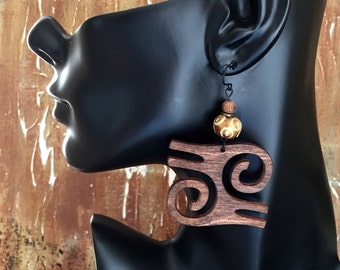 Wooden Earrings with Accent Beads