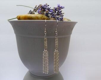 Silver Filigree Tube and Multi Chain Dangle: Daliah Earrings