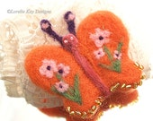 Needle Felted Butterfly Brooch Bright Orange Flowers Pin Fiber  Light Weight Broach Pin