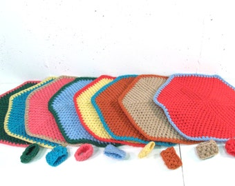 Vintage placemats and napkin rings, colorful crochet multicolor placemats set of 8