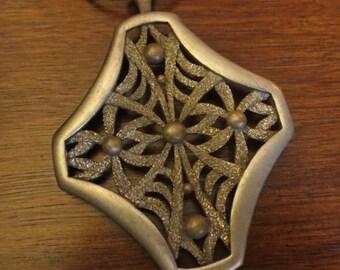 Vintage 1960's Large Artsy Mystical Pendant Necklace Gypsy Hippie