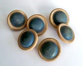 Vintage Wood Buttons - Set of 6 - Two Color Blue and Natural