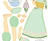 Story Book Jointed Paper Doll  Mary Quite Contrary