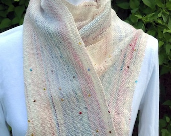 Handwoven striped wool scarf--soft, warm, stylish. Woven with my handspun beaded yarn and a handful of sparkle to light up your face. OOAK