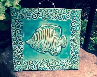 Fantastic Fish Tile in Lapis