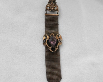 Antique Victorian Watch Fob, Victorian, Mesh, Amethyst Glass, Gold Wash, ca 1880-1890 NT-1439