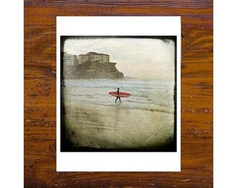 8x8 Print [JCP-162] - Red - surfer, manly beach, beach, square, queenscliff, headland