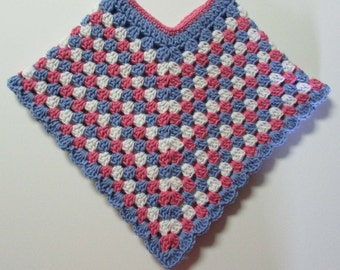 Toddler Poncho / Pink, Blue and White