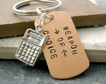 CALCULATOR Keychain, Weapon of Choice, pewter calculator charm, math geek keychain, accountant gift, optional initial disc, see all pics