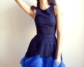 Annabeth - Navy lace and royal blue silk organza dress--Size 0-2 (Sample Sale)