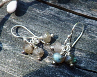 Labradorite Earrings … Faceted labradorite Open Hoop sterling silver earrings petite labradorite hoops