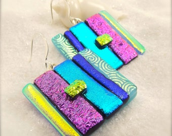 Womens handmade jewelry, trendy earrings, one of a kind, gifts for her, color block earrings, dichroic glass jewelry, drop earrings, stripes