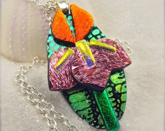 Iris flower jewelry, iris necklace, iris pendant, dichroic pendant, handcrafted, unique, flower jewelry, wedding gift, bridesmaid gift, ooak