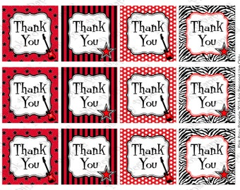 Printable Rock Star Birthday Thank You Tags - Instant Download