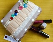Vintage Button Large Beauty Bag, Make Up Bag, Cosmetics Bag with Polka Dots, ribbon and Lace