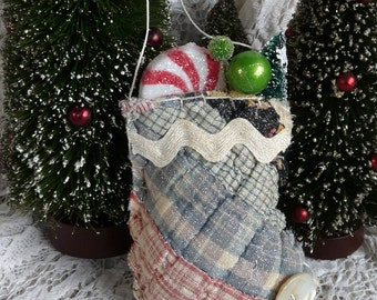 Vintage cutter quilt Christmas stuffed stocking ornament or package embellishment greenery berries pepperment