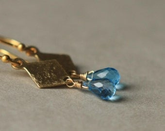 Swiss Blue Topaz Earrings Faceted Briolette Earrings Hammered Brass Earrings Gemstone Dangle Earrings Blue Briolette Small Drop Earrings