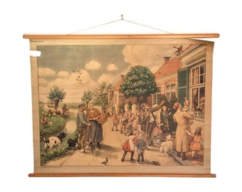 1930s Dutch School Chart - Groningen Children's Art
