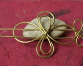 Handmade solid brass hair pin, shawl pin, scarf pin, one piece (item ID HS08B)