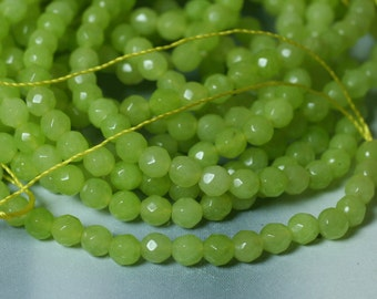 Candy jade faceted round 4mm lime green, 24 pcs (item ID CJ4mRG7)