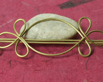Handmade solid brass hair pin, shawl pin, scarf pin, one piece (item ID HS10B)
