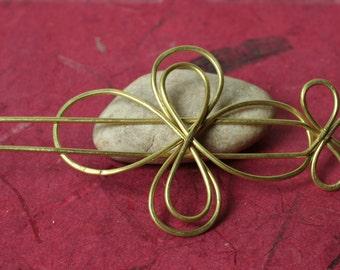 Handmade solid brass hair pin, shawl pin, scarf pin, one piece (item ID HS08B)