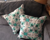 ONE Teal Beetle Throw Pillow