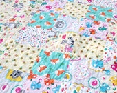 Modern Baby Girl Quilt Happy Campers- Foxes, Owls, Racoons, Birds, Hearts, Bees, Bears - Handmade Heirloom Baby Girl Quilt