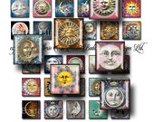 inchies, Celestial Images...Sun, Moon and Stars, collage sheets,  INSTANT  Digital Download, for pendants and charms