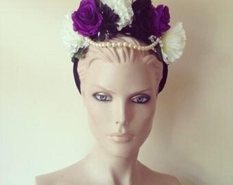 Flower Crown Floral Pearl Head Dress Head Band Festival Hair Fascinator