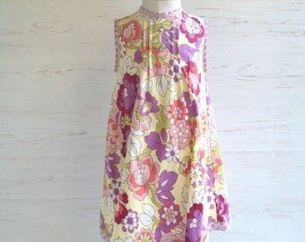 Petite Pleat Dress in Amy Butler charm, soft yellow, lilac, and burgundy, size 4, one of a kind ooak