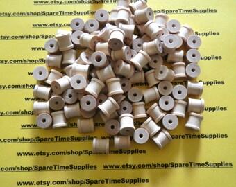 """SP4000WW100  Wood Spools - 1/2"""" tall x 1/2"""" wide w/ 1/8"""" hole - 100 pcs"""
