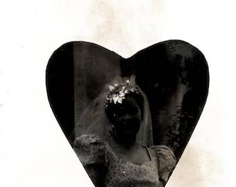 vintage photo  1940 Dark Bride Wild Veil Heart Shape Distressed abstract