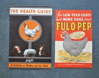 vintage chicken health pamphlets, vintage paper ephemera, vintage advertising