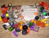 Halloween Jewelry Halloween Bracelet Halloween Charm Bracelet Black Cat Ghost Bat Charms Beads Chunky Fun Halloween Statement Bracelet OOAK