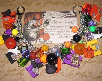 Halloween Jewelry Halloween Bracelet Halloween Charm Bracelet Black Cat Ghost Bat Charms Beads Chunky Fun Halloween Statement Bracelet OOAK