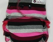 Cloth Diaper OS AI2 - Burgundy, Pink, Grey, Black Stripes - One Size Wind Pro All in Two Cloth Nappy - Windpro Hybrid Diaper Striped