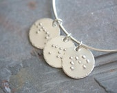 Personalized Custom Hand Stamped Braille Sterling Silver Charm Bracelet - Bangle - Letters Initials