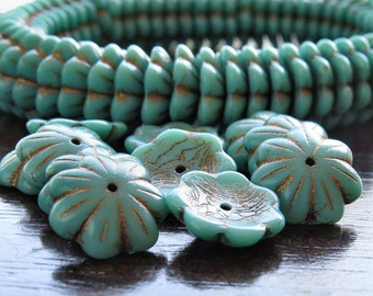 14mm Turquoise Bronze Czech Glass Bead Cup Flower : 10 pc Green Cupped Flower