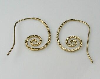 Matte Gold Plated Hammered Spiral Ear Wires Destash