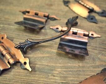 Free Shipping Lot of  various copper drawer hardware hinge pulls cabinet door or Dresser
