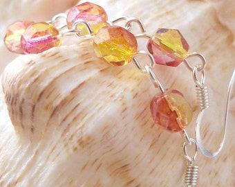 Long Dangle Earrings - Glass Bead Earrings - Yellow and Bright Pink Glass Earrings - Light Weight Earrings - Women's Beaded Earrings