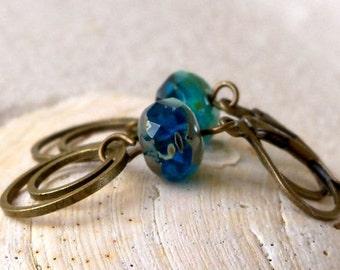 Glass Bead Earrings - Drop Earrings - Turquoise and Blue Bead Earrings - Blue Earrings - Turquoise Earrings - Beaded Dangle Earrings
