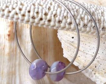 Titanium Hoop Earrings - Hypoallergenic Earrings for Sensitive Ears - Titanium Earrings - Czech Glass Bead Earrings - Nickel Free Earrings