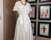 1980s ivory linen dress 80s bohemian summer dress size medium Vintage casual dress with full skirt