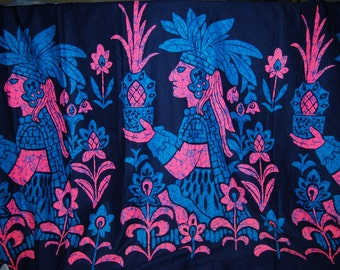 OOP fabric 60s Mayan Aztec cotton border print hot pink turquoise