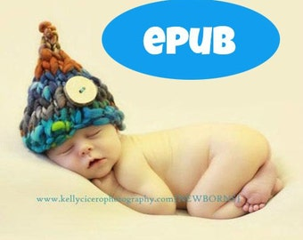 EPUB KNITTING PATTERN - 001 Wee Sprite Hat - Kindle Newborn Photography Prop, Thick and Thin Handspun Yarn - Sell what you make