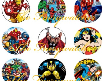 One Inch Superhero Pins, Magnets, or Flatbacks 12 ct. Comicbook Magnets, Superhero Pins, Vintage Superheros