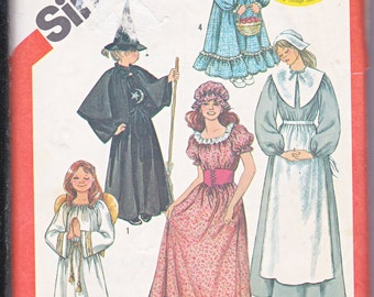 Simplicity 5741 Misses Holly Hobbie Costume Pilgrim Angel Witch Pioneer Colonial American Sewing Pattern Sizes 6-8 Out of Print UNCUT